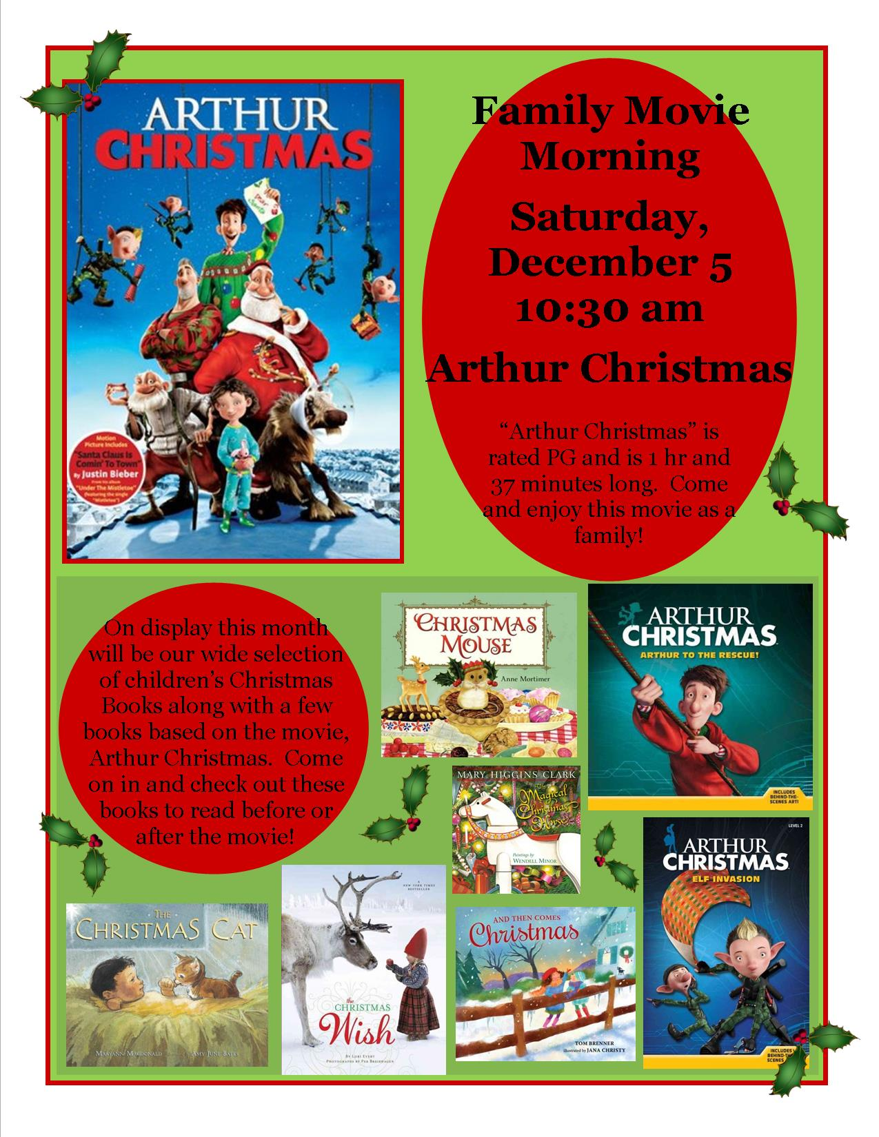 Arthur Christmas Poster.Dassel Public Library Family Movie Morning